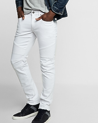 Skinny White Moto Stretch Jeans | Express