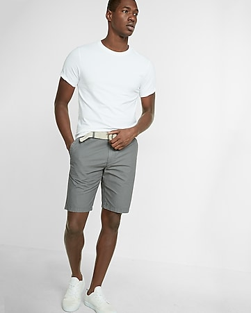classic fit 10 inch flat front belted shorts