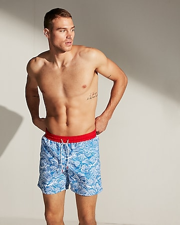edbda0eec12 Shark Print Drawstring Swim Trunks
