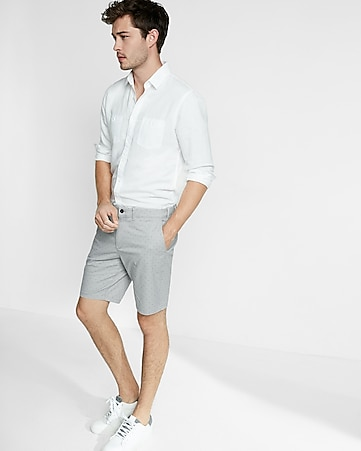 slim fit 9 inch micro print stretch cotton shorts