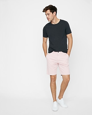 slim fit 9 inch garment dyed flat front stretch shorts