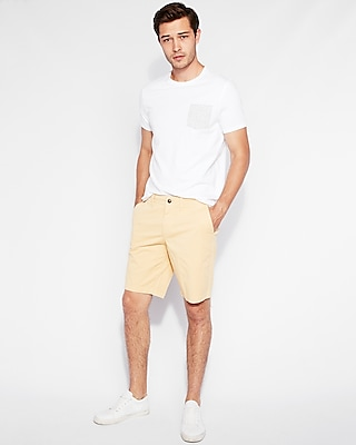 classic fit 10 inch garment dyed flat front stretch shorts