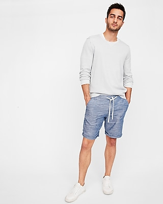 rolled hem stripe lined drawstring shorts