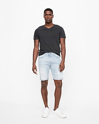 slim fit 9 inch destroyed denim shorts