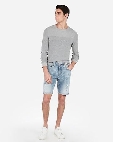 561404d9d5 slim 9 inch light wash distressed stretch denim shorts