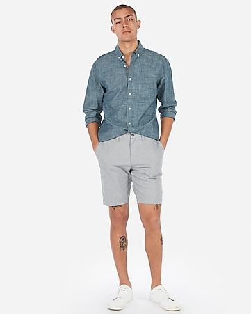 047d88b61c Slim 9 Inch Light Wash Distressed Stretch Denim Shorts