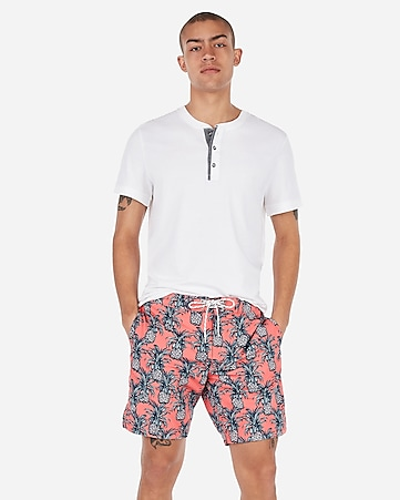 b8dedac8f2a Pineapple Print Drawstring Swim Trunks