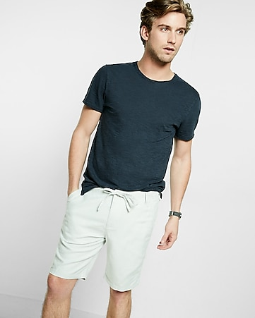 classic fit 10 inch roll cuff linen-cotton drawstring shorts