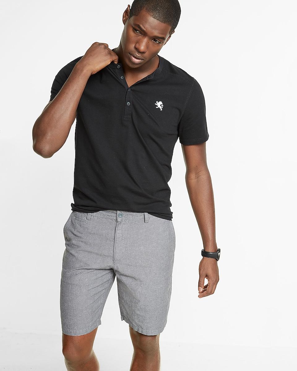 Classic Fit 10 Inch Linen Cotton Flat Front Shorts