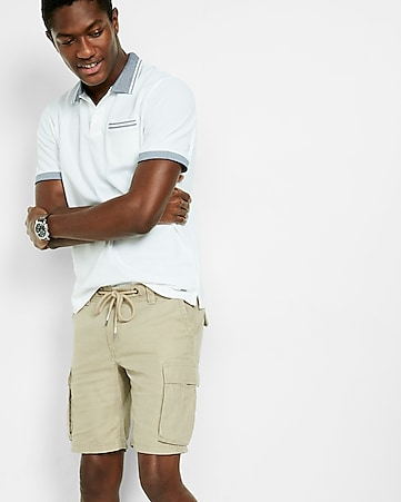 classic fit 10 inch linen-cotton cargo shorts