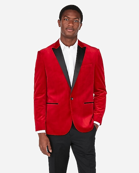 fc9a82a6c2e Slim Red Velvet Tuxedo Jacket   Express