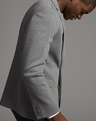 Slim Light Gray Double Knit Blazer | Express