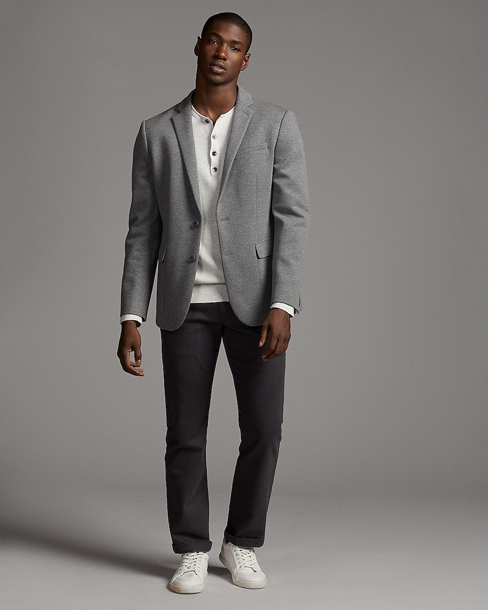 Slim Light Gray Double Knit Blazer   Express