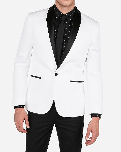dd4826b8d Mens White Dinner Jacket Tuxedo Fashion Dress Suit Blazer With Free Black  Pants Black Lapeled Peak Lapel