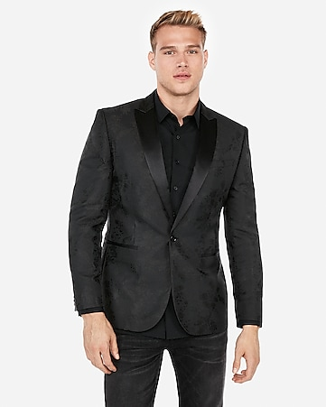 Express View · slim black floral jacquard tuxedo jacket e3e655278157