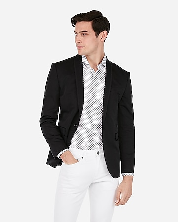 dfbfc51d55 Express View · slim black shawl collar cotton performance stretch blazer