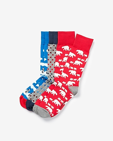 express view 3 pack polar bear socks gift set