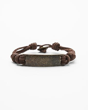 Metal Plaque Leather Bracelet