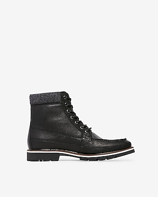 Wool Cuff Lace Up Boots by Express