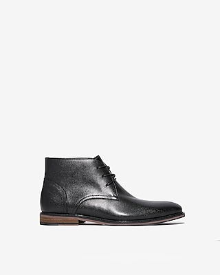 Textured Leather Chukka Boots by Express