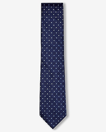 dot print narrow silk tie