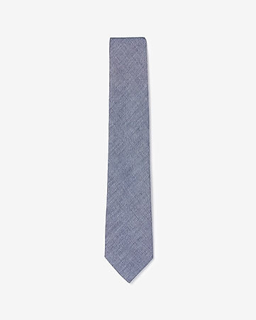 chambray narrow cotton tie