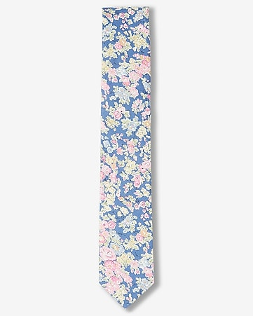 soft floral print slim liberty fabric cotton tie