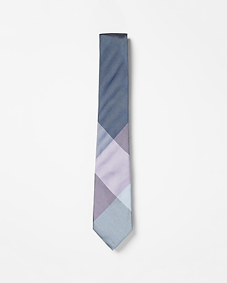 Narrow Check Panel Silk Tie by Express