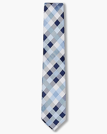 narrow check print silk tie