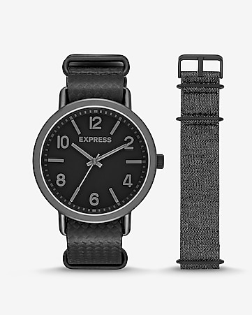 black analog watch gift set