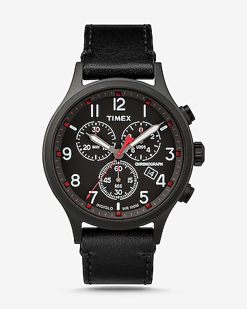 3112e19bdda4 Express View · timex scout leather-strap chronograph watch