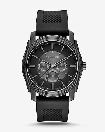 rivington textured silicone multifunction watch - black