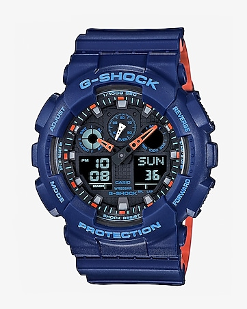 g-shock layered navy blue and orange watch