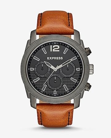 07805e0d2039c Express View · rivington textured multi-function leather watch - cognac