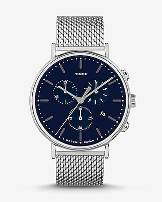 Timex Fairfield Leather Strap Chronograph Watch by Express
