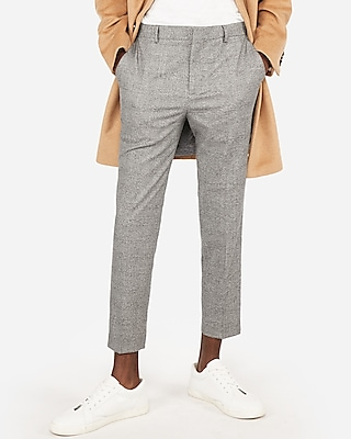 Gray Plaid Stretch Cropped Dress Pant by Express