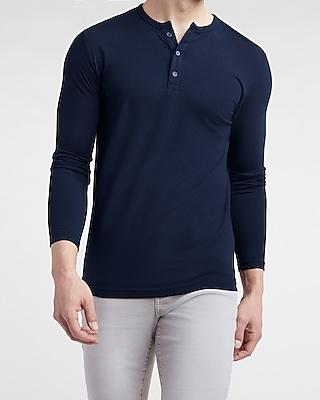 Slim Supersoft Long Sleeve Henley Tee by Express