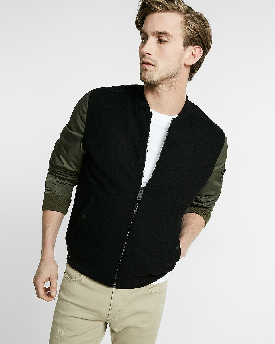 Mens khaki jacket casual -  Contrast Sleeve Wool Blend Bomber Jacket