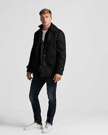 recycled wool water-resistant peacoat