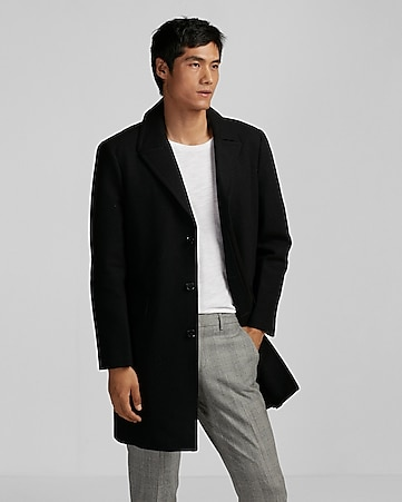black recycled wool topcoat