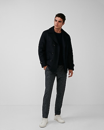 wool water-resistant down lined peacoat