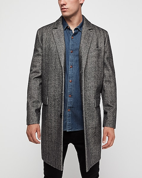 Men's Herringbone Wool-Blend Topcoat