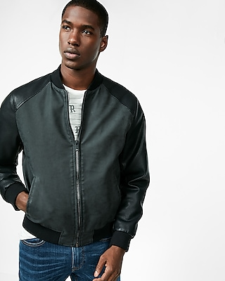 Express.com deals on Express Mens Faux Suede (Minus The) Leather Sleeve Jacket