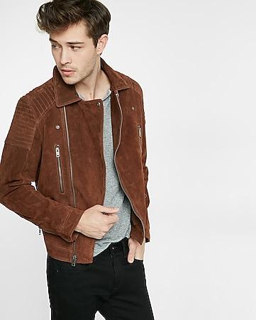 Genuine Suede Asymmetrical Biker Jacket | Express