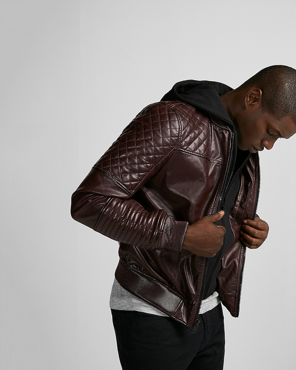 minus The) Leather Quilted Moto Bomber Jacket | Express : express quilted leather jacket - Adamdwight.com