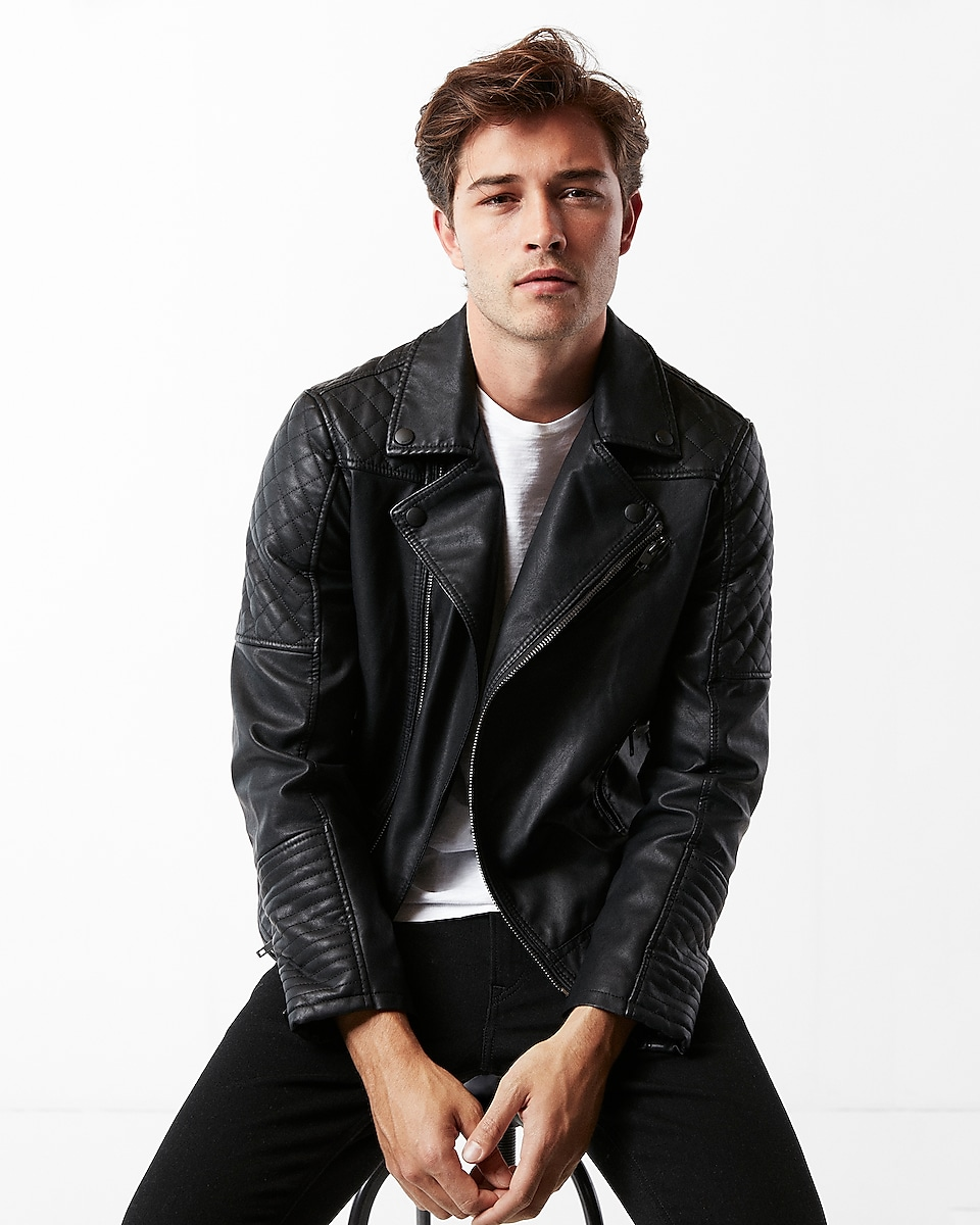 Minus The Leather Quilted Asymmetrical Moto Jacket Express