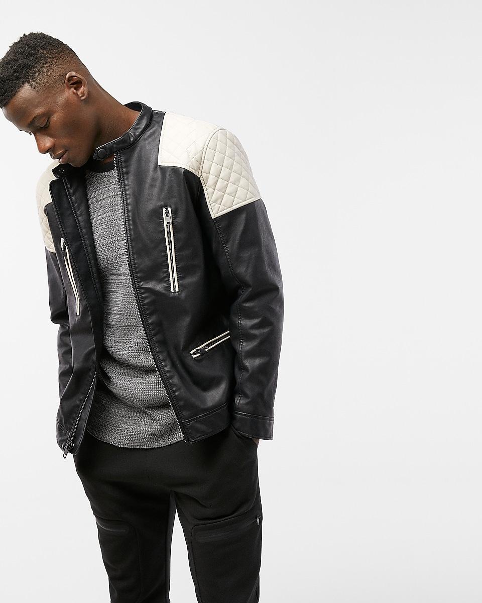Quilted System Biker Jacket | Express : express quilted leather jacket - Adamdwight.com