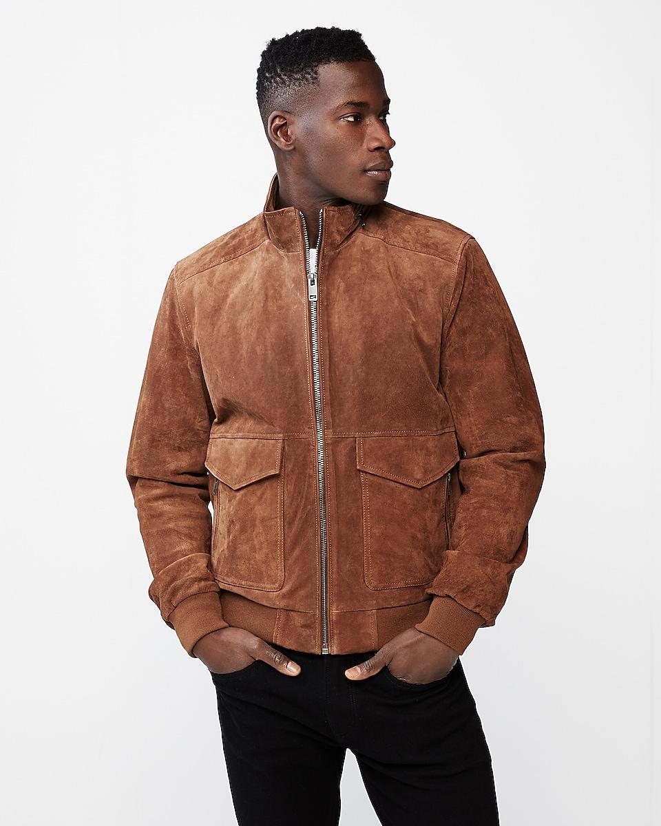 Express Genuine Suede Zip Collar Bomber Jacket
