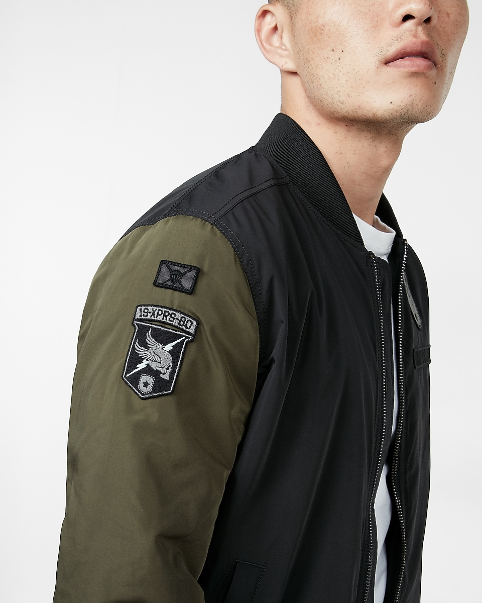 Military Patch Bomber Jacket | Express