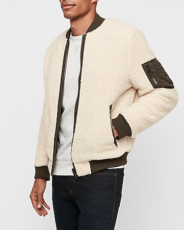 Reversible Nylon Sherpa Bomber by Express